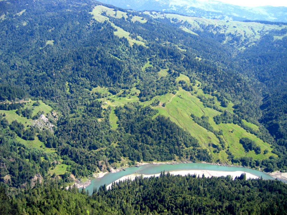 Aerial view of part of the ranch and river