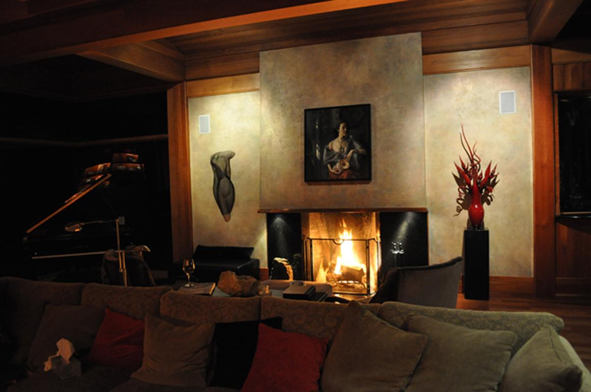 Gorgeous fireplace and custom wall paint