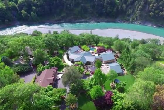 Aerial of home to river